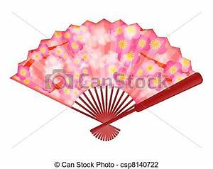 Clip Art of Chinese Fan with Cherry Blossom Flowers ...