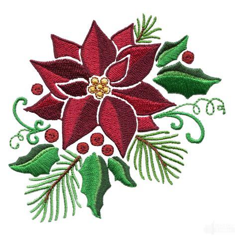 poinsettia design holly and poinsettia embroidery design