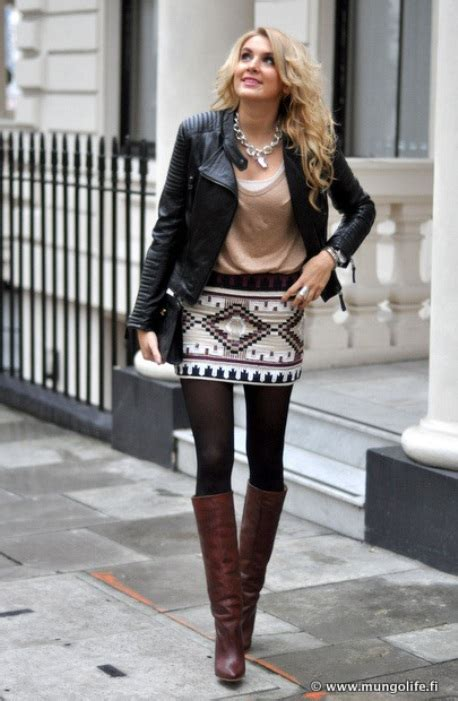 Mini Skirt Outfits with Boots