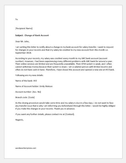 Example of business bank account change letter from pnc transfer kit. Change of Bank Account Letter to Manager | Word & Excel ...