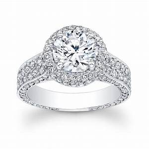 women39s platinum pave diamond halo engagement ring with With halo wedding rings for women
