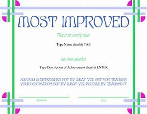 Award certificate templates for Most improved certificate template