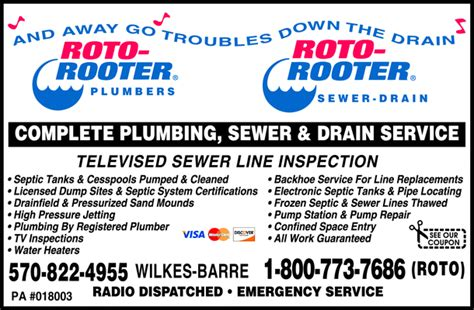 roto rooter plumbing drain services roto rooter plumbing sewer drain wilkes barre pa 18701