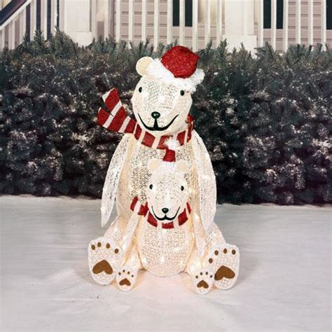 sale lighted pre lit christmas polar bear sculpture outdoor holiday yard decor ebay