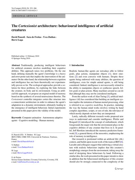 (PDF) The Cortexionist architecture: Behavioural