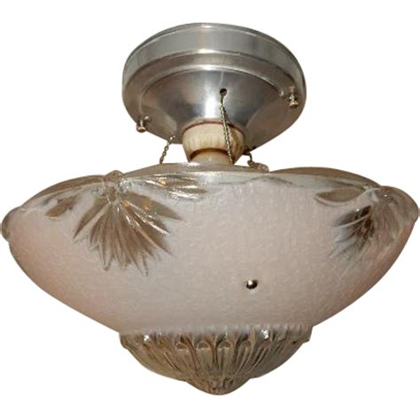 deco flush mount ceiling light fixture w original pink