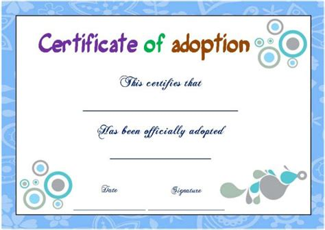 Blank Adoption Certificate Template by Adoption Certificate Template 21 Free Certificates For