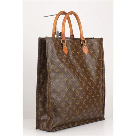 louis vuitton vintage brown monogram sac plat gm tote bag handbag  sale  stdibs