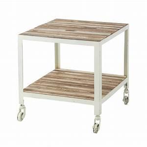 Tavolino Da Salotto Bianco A Rotelle In Metallo L 45 Cm Mistral