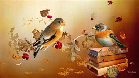 autumn birds birds animals background wallpapers