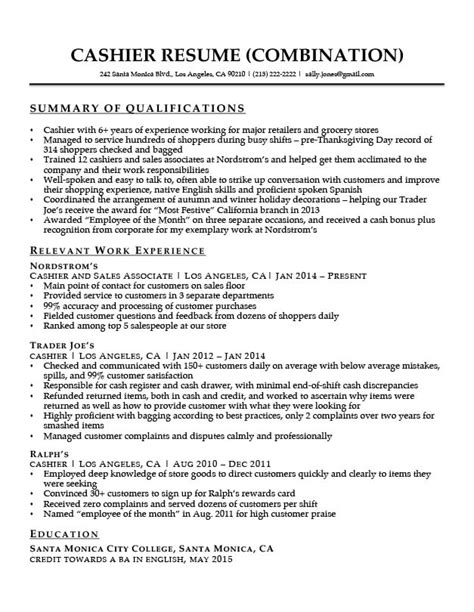 Sales Associate Qualifications Resume by Cashier Resume Sle Resume Companion