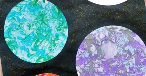 preschool space craft marbled planets art space crafts