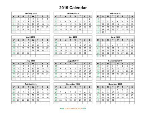 Blank Calendar 2019 Landscape