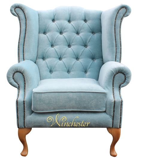 chesterfield fabric high back wing chair duck