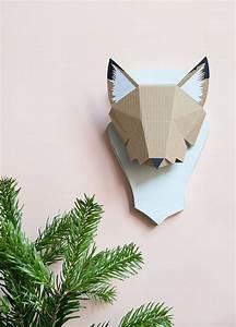 Trophée Animaux Carton : diy troph e renardeau d fi cop21 diy carton diy et origami ~ Melissatoandfro.com Idées de Décoration