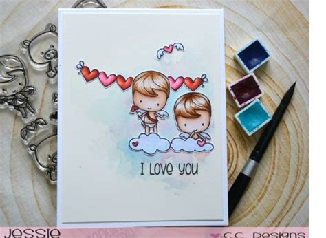 project valentine cherubs card stamping