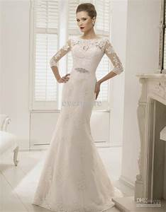 lace wedding dress with 3 per 4 sleeves and court train With 3 4 sleeve lace wedding dress