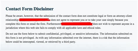 Is Your Law Website's Contact Form And Disclaimer Correct