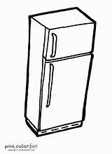 Fridge Refrigerator Coloring Template Kitchen Sketch Printcolorfun sketch template