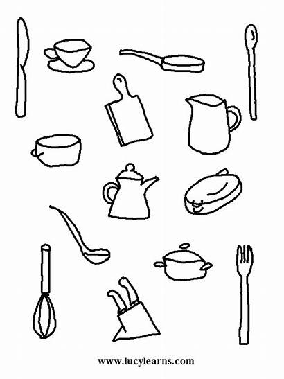 Coloring Chef Cooking Kitchen Pages Utensils Activity