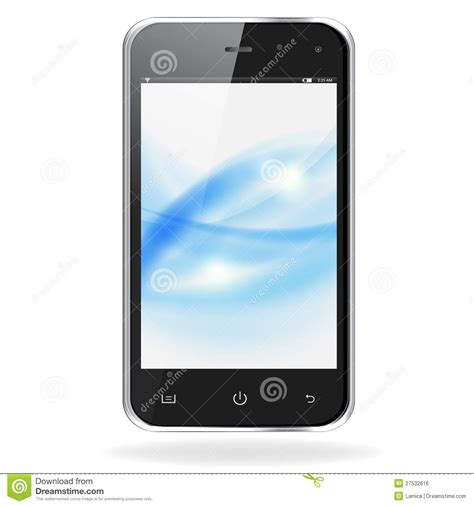 blue mobile phone realistic mobile phone with blue waves royalty free stock