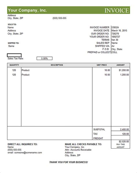commercial invoice template printable receipt template