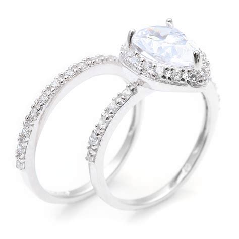 sterling silver pear engagement ring set sbgr