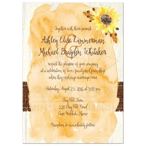 Rustic Wedding Invitation Watercolor Sunflowers