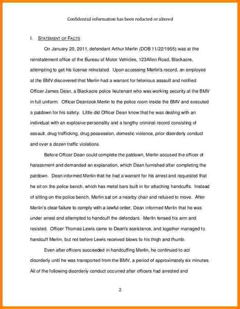 statement  facts sample letter case statement