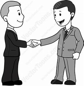 Cartoon Clipart: Businessmen In Suits Shaking Hands