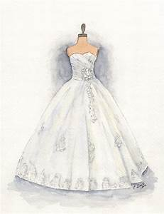custom wedding dress painting watercolor dress illustration With watercolor wedding dress