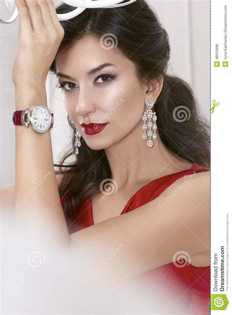 Beautiful Woman Brunette Brown Eyes In A Red Dress In