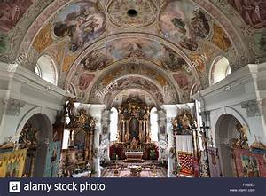 Interior with altar, St. Peter and Paul Church, Söll ...