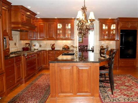 Traditional Kitchen With Cherry Cabinets And Granite Countertops