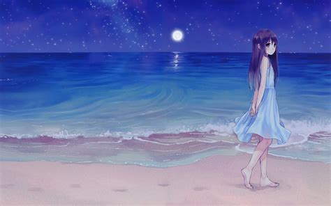 Girl Beach Night Anime Wallpapers Hd  Desktop And Mobile