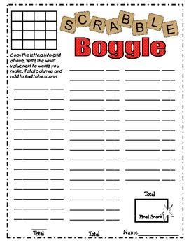 Scrabble Boggle Worksheet Freebie! By Kb Konnected Tpt