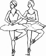 Coloring Ballet Ballerina Pages Dancer Duo Synchronize Dance Position Fifth Cute Doing sketch template