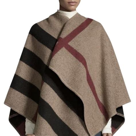 burberry womens mega check wool cashmere ponchocape size