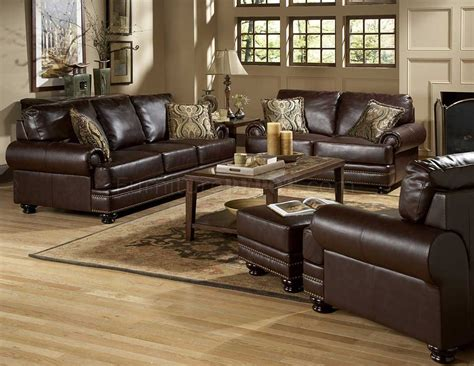 bentleys sofa set  rich brown leather  homelegance