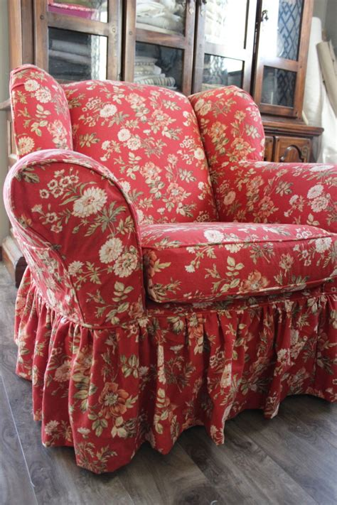 Red Floral Chair  Slipcovers By Shelley