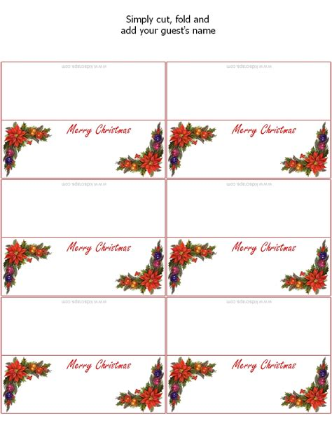 Place Card Templates Freechristmas Template Place Card Templates Invitation Template