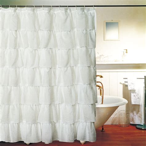 shabby chic fabric shower curtains white gypsy shabby chic ruffled fabric shower curtain 20 would need 2 for scarlett s window