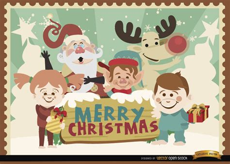 merry christmas cartoon characters background vector