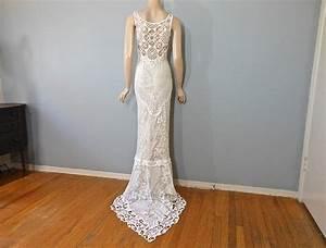 handmade hippie wedding dress crochet boho wedding by With crochet wedding dress