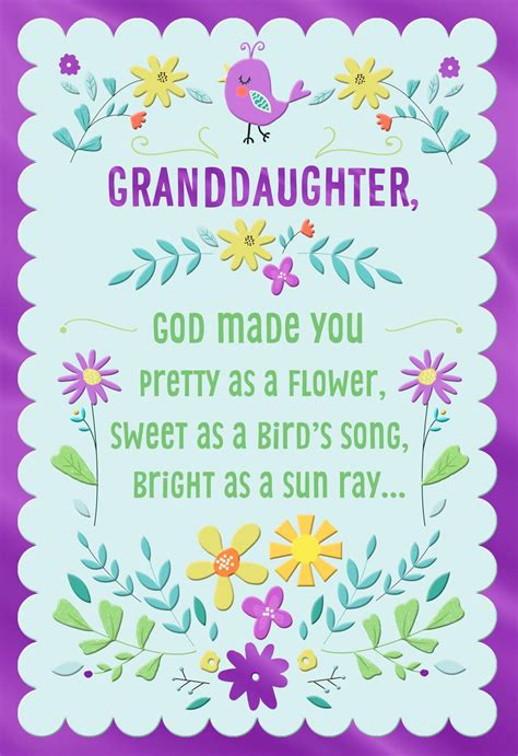 pretty   flower religious easter card  granddaughter