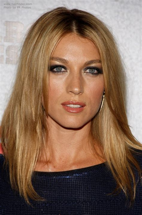 natalie zea   long hair parted   middle