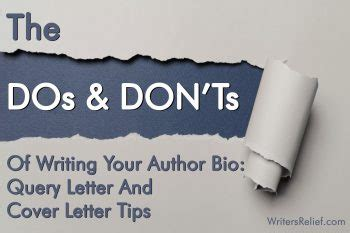 dos  donts  writing  author bio query letter  cover letter tips writers relief