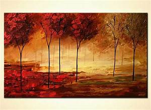 painting forest textured painting home decor trees 5619