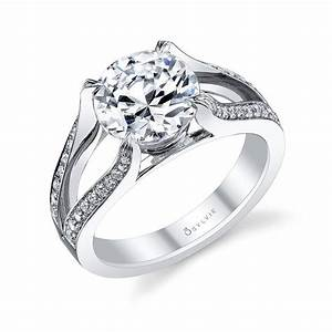 Charlotte round split shank engagement ring s1082 sylvie for Split shank engagement ring with wedding band