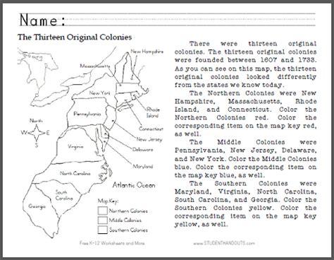 thirteen original colonies map primary worksheet free